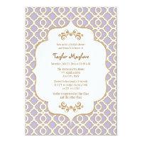 Light Purple Gold Moroccan Bridal Shower Invites (<em>$2.16</em>)