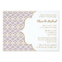 Light Purple Gold Moroccan Couples Wedding Shower 5x7 Paper Invitation Card (<em>$2.16</em>)