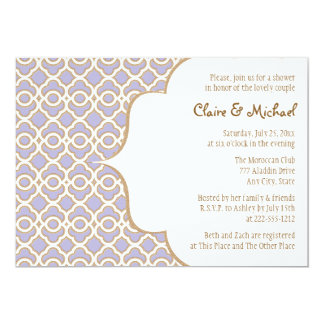 Light Purple Gold Moroccan Couples Wedding Shower Card