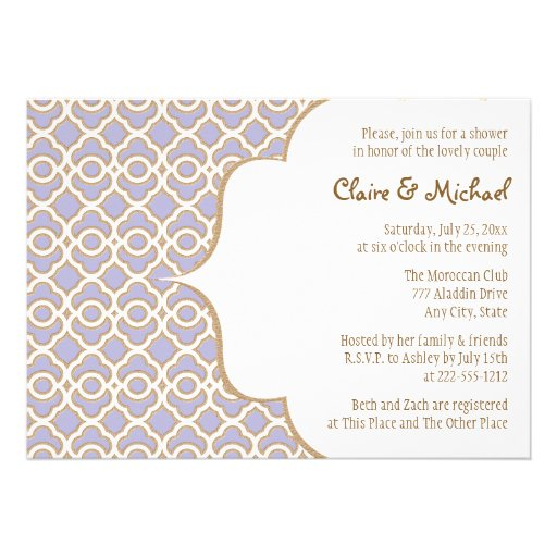Light Purple Gold Moroccan Couples Wedding Shower Custom Announcement