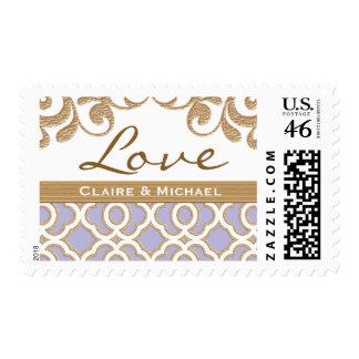 Light Purple Gold Moroccan Love Wedding Stamp