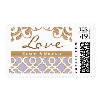 Light Purple Gold Moroccan Love Wedding Postage