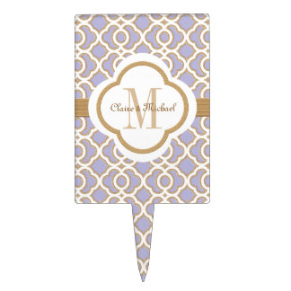 Light Purple Gold Moroccan Monogram Couples Cake Topper
