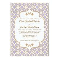 Light Purple Gold Moroccan Wedding Invitations