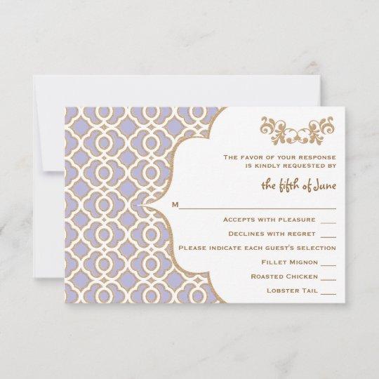 Wedding Response Cards.Light Purple Gold Moroccan Wedding Response Cards