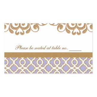 Light Purple Gold Moroccan Wedding Table Place Business Card Templates