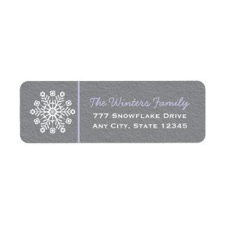 Light Purple Gray Snowflake Return Address Labels
