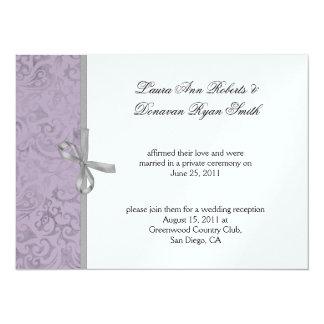Light Purple Gray White Damask Post Wedding Remake Card