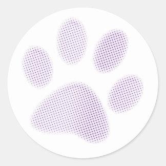 Light Purple Halftone Paw Print Classic Round Sticker