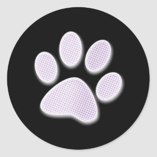 Light Purple Halftone Paw Print Classic Round Sticker