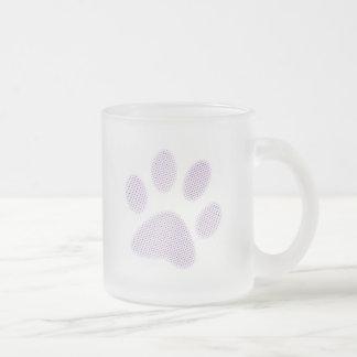 Light Purple Halftone Paw Print Frosted Glass Coffee Mug