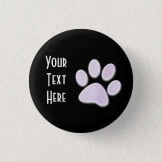 Light Purple Halftone Paw Print Pinback Button