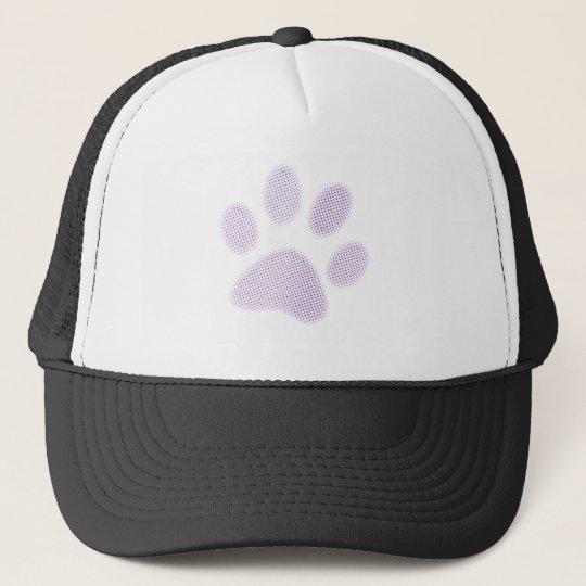 Light Purple Halftone Paw Print Trucker Hat
