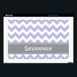 "Light Purple Lavender and Gray Chevron 17 Inch Lap Decal For 17&quot; Laptop<br><div class=""desc"">This custom light purple lavender and gray chevron laptop skin can be personalized with your name on the grey PRINTED stitched ribbon look design. This fits both a 17 in Mac or PC laptop. Accessorize your favorite gadget with a modern zigzag striped skin. Designed by Chrissy H. Studios, LLC. All...</div>"