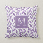 Light Purple Leaves Personalized Monogram Throw Pillow