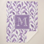 Light Purple Leaves Sherpa Blanket