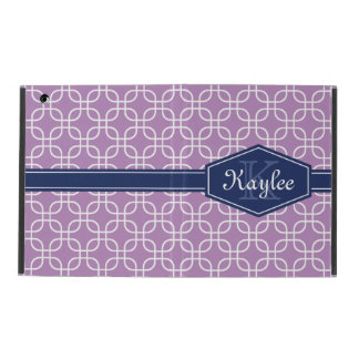 Light Purple Modern Square Pattern Blue Label iPad Cover