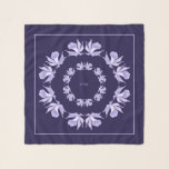 "Light Purple Orchids Blue Square Chiffon Scarf<br><div class=""desc"">Monogrammed Lavender to Light Purple Orchids on Haiti Blue ( Darker than Navy) Background Square Chiffon Scarf.</div>"