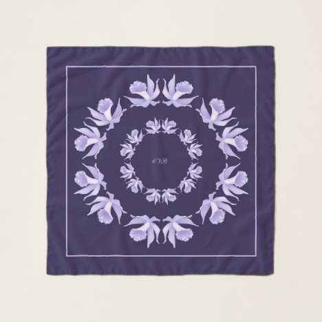 Light Purple Orchids Blue Square Chiffon Scarf