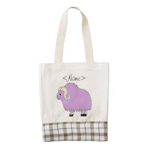 Light Purple Ox with Curled Horns Zazzle HEART Tote Bag