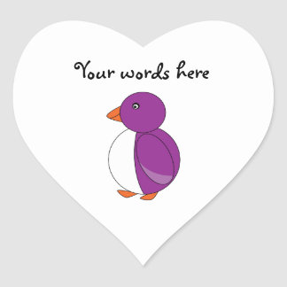 Light purple penguin heart sticker