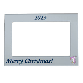 Light Purple Penguin with Yellow Ice Skates Magnetic Picture Frame