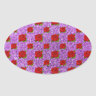 light purple red roses glitter oval sticker