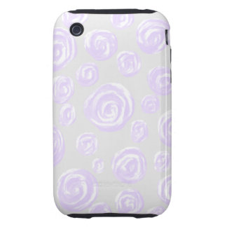Light purple rose pattern on pale gray. iPhone 3 tough covers