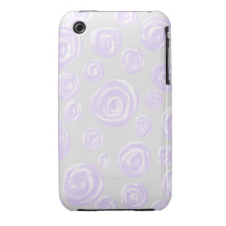 Light purple rose pattern on pale gray. iPhone 3 cases