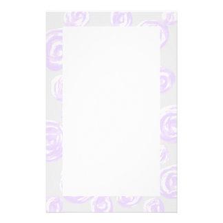 Light purple rose pattern on pale gray personalized stationery