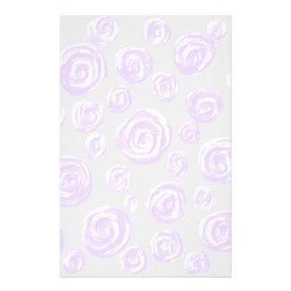 Light purple rose pattern on pale gray stationery