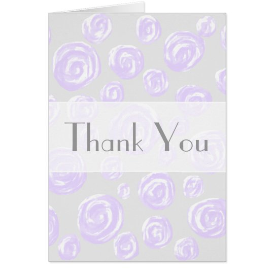 Light purple roses on pale gray. Thank You Card