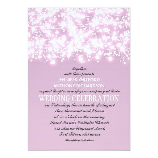 String Lights Wedding Invitation : light purple string lights wedding invitations 5