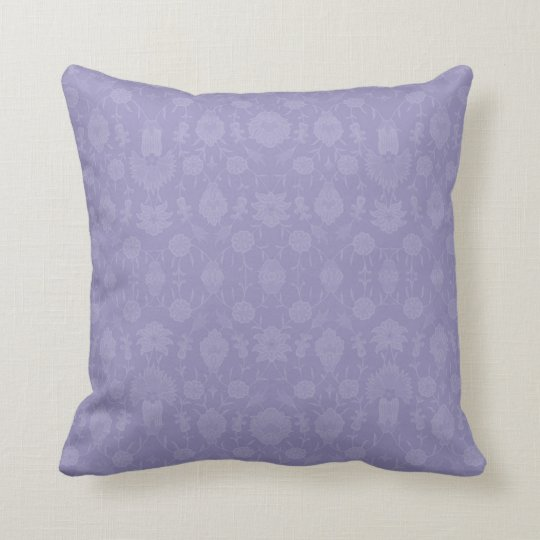Light Purple Vintage Floral Throw Pillow