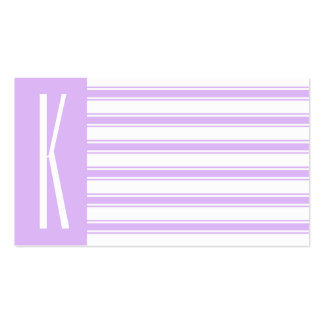 Light Purple & White Horizontal Stripes Double-Sided Standard Business Cards (Pack Of 100)