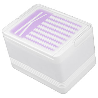 Light Purple & White Horizontal Stripes Igloo Can Cooler