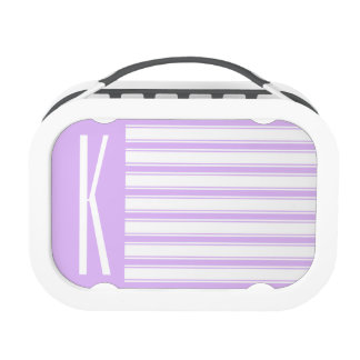 Light Purple & White Horizontal Stripes Lunch Boxes