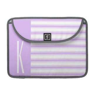 Light Purple & White Horizontal Stripes MacBook Pro Sleeve