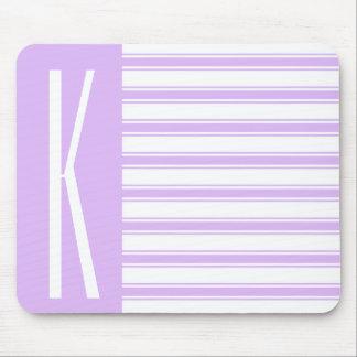 Light Purple & White Horizontal Stripes Mouse Pad