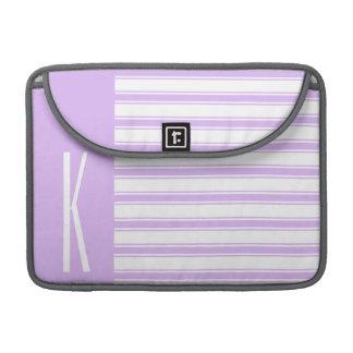Light Purple & White Horizontal Stripes Sleeve For MacBooks