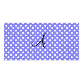 Light purple white polka dots monogram photo greeting card