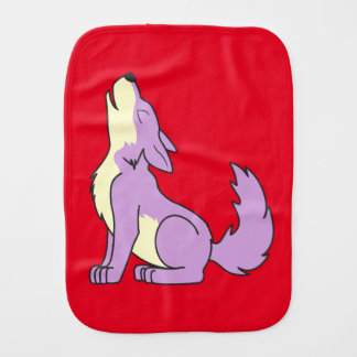 Light Purple Wolf Pup Howling Burp Cloth