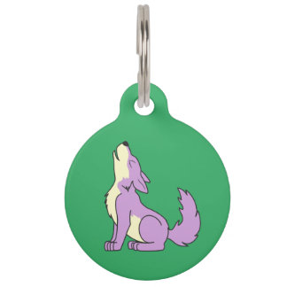 Light Purple Wolf Pup Howling Pet Name Tag