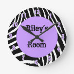 Light Purple Zebra Girls Room Wall Clock with name