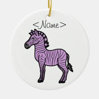 Light Purple Zebra with Black Stripes Ceramic Ornament