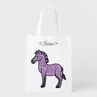 Light Purple Zebra with Black Stripes Grocery Bags