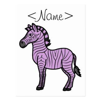Light Purple Zebra with Black Stripes Postcard