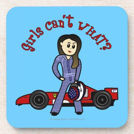 Light Race Car Driver Drink Coasters