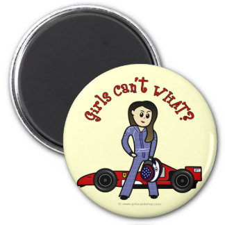 Light Race Car Driver Girl 2 Inch Round Magnet