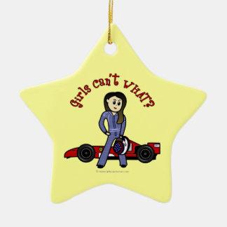 Light Race Car Driver Girl Ceramic Ornament